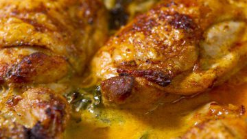 The best Succulent crispy skin chicken with lemon butter cream sauce