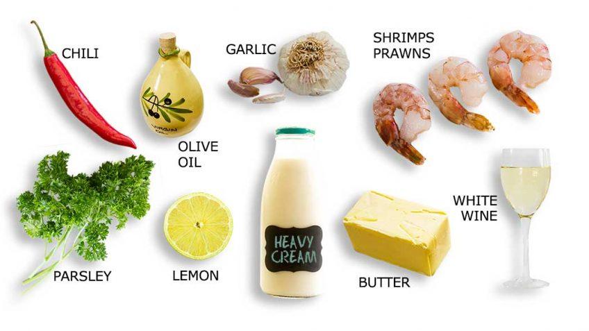 GArlic prawn or Shrimp ingredients