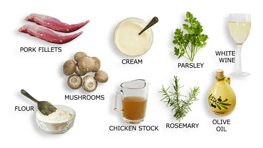 Pork fillet mushroom sauce ingredients
