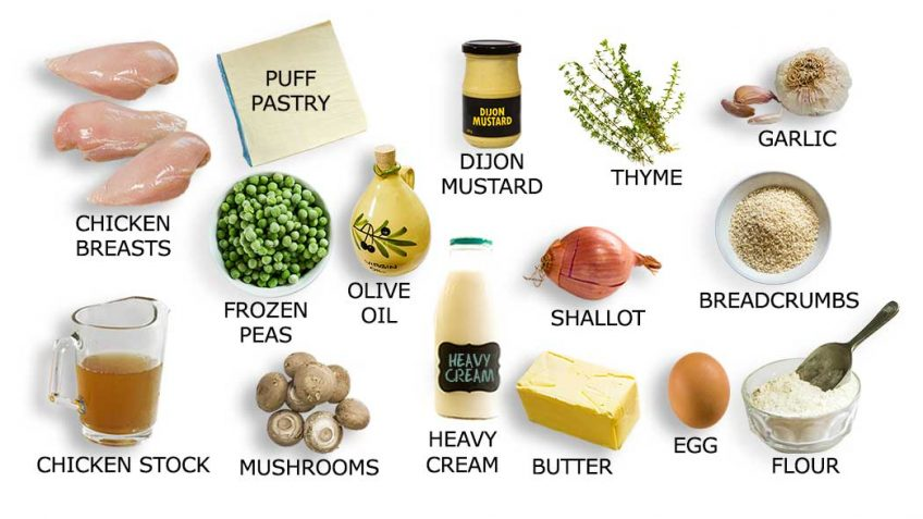 Chicken Pot Pie ingredients for recipe