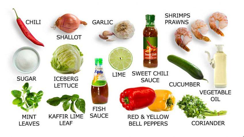 Thai shrimp on warm salad recipe ingredients