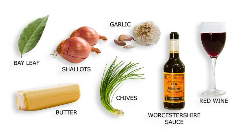 Ingredients for red wine and shallot butter