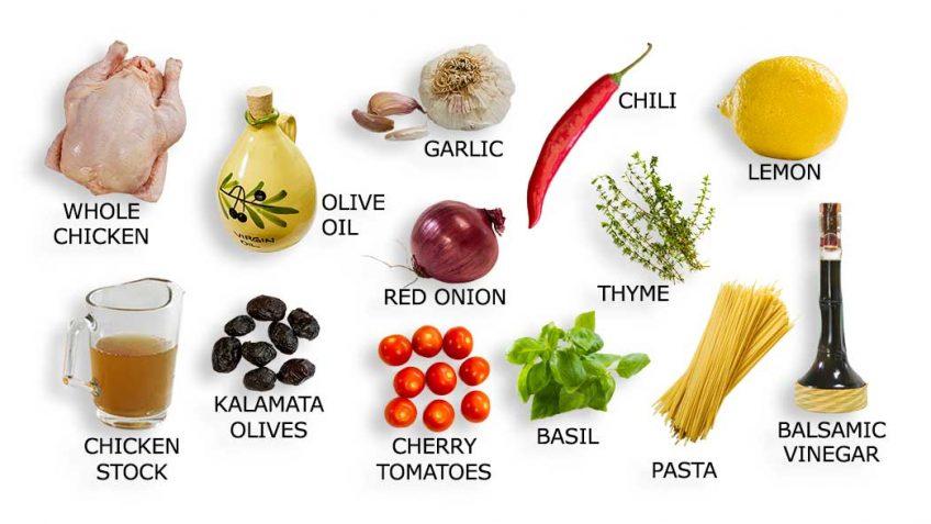 Roasted chicken Mediterranean ingredients