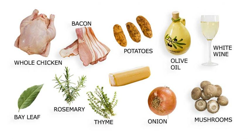Ingredients for Poulet Grandmere