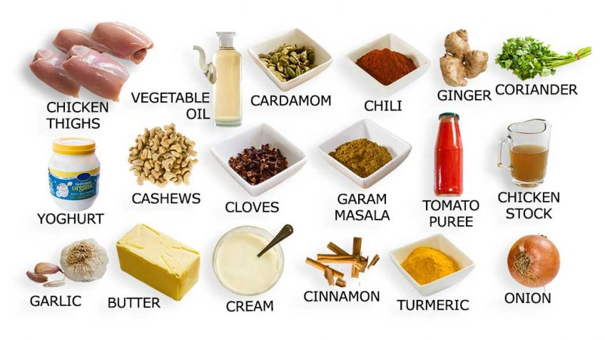 Butter chicken recipe ingredients