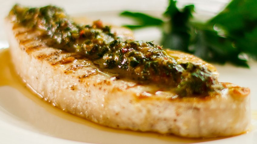 Sword fish grilled with Chimichurri sauce, a healthy recipe