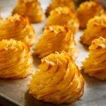 Potato swirls known as Pommes Duchesse