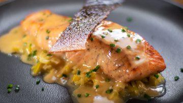 Crispy skin pan seared salmon