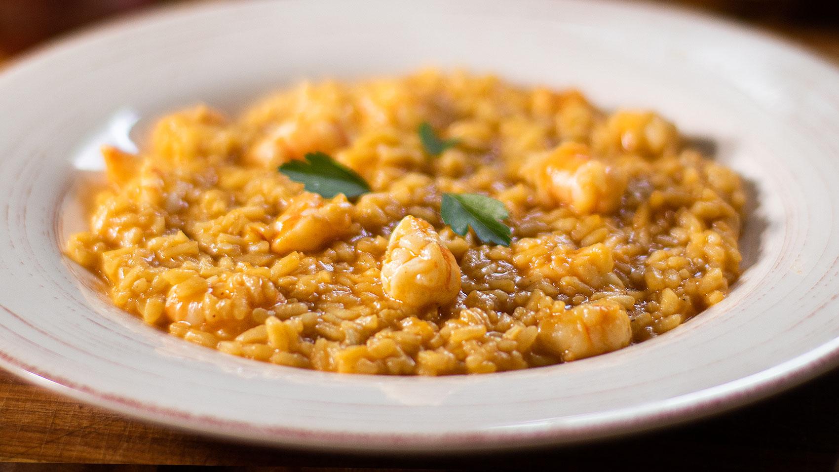 Shrimp or prawn risotto