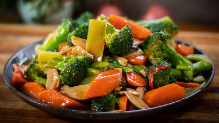 Asian wok stir fried vegetables
